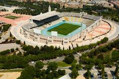 Ideia aérea do estádio de Olimpic de Barcelona foto de stock