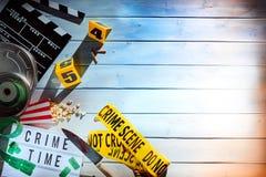 Ideia aérea do filme e das tiras da fita amarela Imagem de Stock