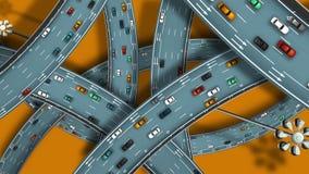 Ideia aérea do intercâmbio da autoestrada dos desenhos animados vídeos de arquivo
