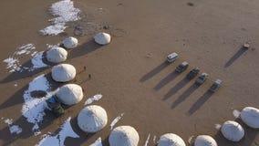 Ideia aérea do Mongolian Ger no deserto filme