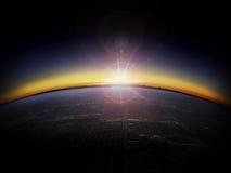 Ideia aérea do nascer do sol sobre uma cidade fotografia de stock royalty free