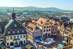 Ideia aérea do 24o festival de Barbarossamarkt em Gelnhausen Imagem de Stock