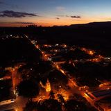 Ideia aérea do por do sol fantástico no campo fotografia de stock royalty free
