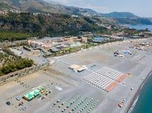 Ideia aérea do Praia uma praia da égua, província de Cosenza, Calabria, Itália 06/26/2017 Imagem de Stock