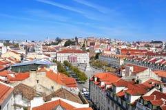 Ideia aérea do quadrado de Rossio em Lisboa, Portugal Fotos de Stock Royalty Free