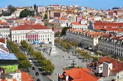 Ideia aérea do quadrado de Rossio em Lisboa, Portugal Foto de Stock Royalty Free