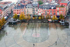 Ideia aérea do quadrado pedestre em Lovaina, Bélgica, na frente de Foto de Stock Royalty Free
