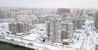 Ideia aérea do quarto residencial do inverno da cidade de Kiev, Ucrânia Imagem de Stock