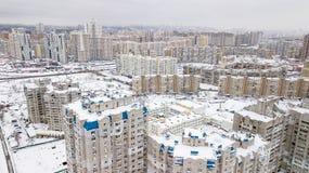Ideia aérea do quarto residencial do inverno da cidade de Kiev, Ucrânia Fotografia de Stock