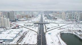 Ideia aérea do quarto residencial do inverno da cidade de Kiev, Ucrânia Foto de Stock