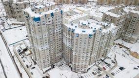 Ideia aérea do quarto residencial do inverno da cidade de Kiev, Ucrânia Imagem de Stock Royalty Free