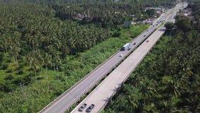 Ideia aérea do transporte que conduz na estrada entre a plantação da palmeira Voo cinemático do tiro do zangão sobre a estrada co filme