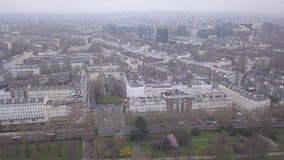 Ideia aérea do vídeo BRITÂNICO da opinião superior 4K UHD do zangão de Londres Hyde Park Reino Unido video estoque