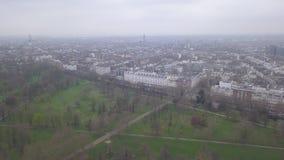 Ideia aérea do vídeo BRITÂNICO da opinião superior 4K UHD do zangão de Londres Hyde Park Reino Unido filme