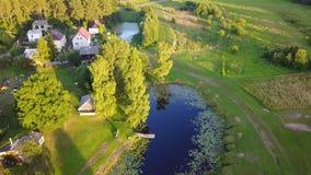 Ideia aérea do vídeo da opinião superior 4K UHD do zangão do campo do lago Gauja do campo vídeos de arquivo