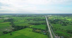 Ideia aérea dos campos com vários tipos de agricultura e de canal da irrigação em Tailândia rural vídeos de arquivo