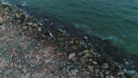 Ideia aérea dos pares em uma praia rochoso perto do mar video estoque