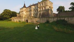 Ideia aérea dos pares novos do casamento que andam ao castelo velho em 4k video estoque