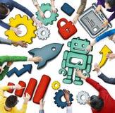 Ideia aérea dos povos e dos conceitos da tecnologia Imagem de Stock Royalty Free