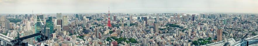 Ideia aérea panorâmico do por do sol surpreendente da skyline do Tóquio Imagem de Stock
