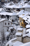 Ideia aérea da área da residência de Veliko Tarnovo no inverno Fotografia de Stock Royalty Free