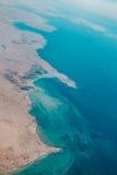 Ideia aérea de uma região litoral em Catar Imagem de Stock