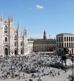 Ideia aérea rara do quadrado do domo em Milão, Itália Fotografia de Stock
