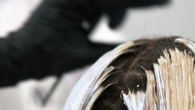 Ideia ascendente próxima da coloração de cabelo, movimento lento vídeos de arquivo
