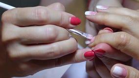 Ideia ascendente próxima da pintura fêmea do prego do dedo indicador filme
