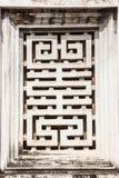 Ideia bonita da arte de decoração da parede da janela do templo da literatura Van Mieu no vietnamita, ele conhecido como Temple o imagem de stock