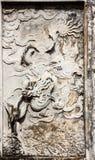 Ideia bonita da arte dos Carvings da parede do templo da literatura Van Mieu no vietnamita, ele conhecido como Temple of Confuciu imagens de stock royalty free