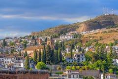 Ideia bonita da noite do quarto árabe de Albaicin do Alhambra, Granada, a Andaluzia, Espanha foto de stock