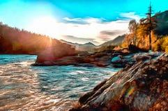 Ideia bonita do nascer do sol sobre a montanha e o rever ilustração royalty free