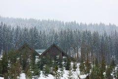 Ideia bonita do recurso com as casas de campo acolhedores no dia nevado fotografia de stock