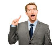 Ideia brilhante do homem de negócios que pensa o fundo criativa branco Fotos de Stock