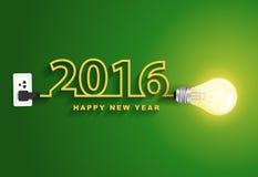 Ideia criativa da ampola do conceito do ano novo feliz do vetor 2016 ilustração do vetor