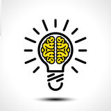 Ideia da ampola com molde do logotipo do vetor do cérebro Ícone incorporado tal como o logotype Fotos de Stock