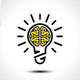 Ideia da ampola com molde do logotipo do vetor do cérebro Ícone incorporado tal como o logotype ilustração stock