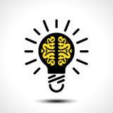 Ideia da ampola com molde do logotipo do vetor do cérebro Ícone incorporado tal como o logotype ilustração royalty free