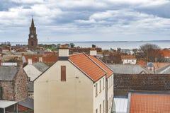 Ideia da arquitetura da cidade da Berwick-em cima-mistura de lã, a cidade a mais northernmost em Northumberland na boca da mistur fotos de stock royalty free