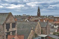 Ideia da arquitetura da cidade da Berwick-em cima-mistura de lã, a cidade a mais northernmost em Northumberland na boca da mistur foto de stock royalty free