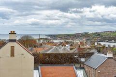 Ideia da arquitetura da cidade da Berwick-em cima-mistura de lã, a cidade a mais northernmost em Northumberland na boca da mistur foto de stock