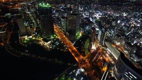 Ideia da arquitetura da cidade de Yokohama, vista da noite da torre do marco de Yokohama, Japão vídeos de arquivo