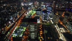 Ideia da arquitetura da cidade de Yokohama, vista da noite da torre do marco de Yokohama, Japão video estoque