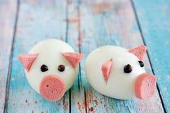 Ideia da arte do alimento - porcos comestíveis do ovo pelo ano novo 2019 imagem de stock royalty free