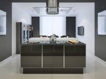 Ideia da barra da ilha na cozinha do techno Fotografia de Stock Royalty Free