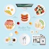 Ideia da configuração do plano do café da manhã do negócio do alimento de Infographic Imagens de Stock Royalty Free