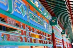 Ideia da coroa do feixe de telhado e da pintura da Cidade Proibida, Pequim dos detalhes, China fotografia de stock