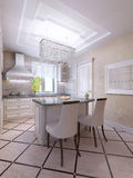 Ideia da cozinha brilhante com barra da ilha Imagens de Stock