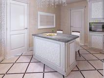 Ideia da cozinha da vanguarda nas cores de creme Foto de Stock Royalty Free